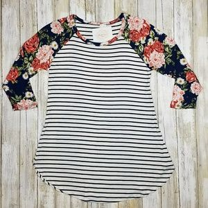 Navy/Coral Striped Floral Sleeve Top